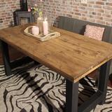 Industriële steigerhouten tafel H-poot_