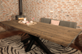 Industriële kloostertafel stalen 3D kruispoot_