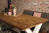 Industriële steigerhouten tafel X-poot WIT_