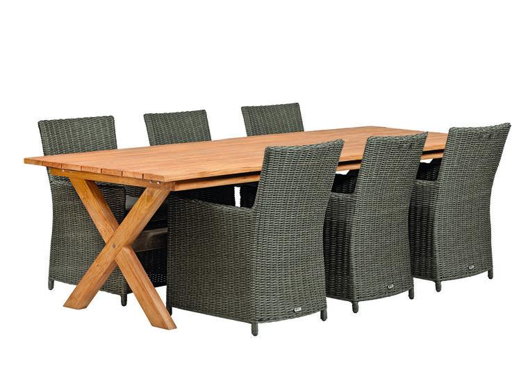 Hardhouten tuintafel 3 5 meter 8 wicker stoelen bruin countrywood