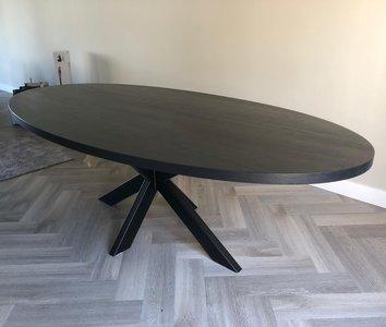 Eiken tafel Zermatt Ovaal 3D matrixpoot Black