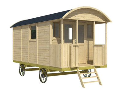 Pipowagen Onbehandeld Vuren 480 x 240 x 319 cm met veranda