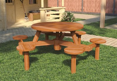 Hardhouten Picknicktafel Rond 230 x 77 cm voor 6 personen