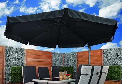 Zweefparasol Bonaire 350 x 350 cm antraciet/zwart met voet