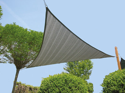 Zonnezeil driehoek 420 x 420cm zilvergrijs